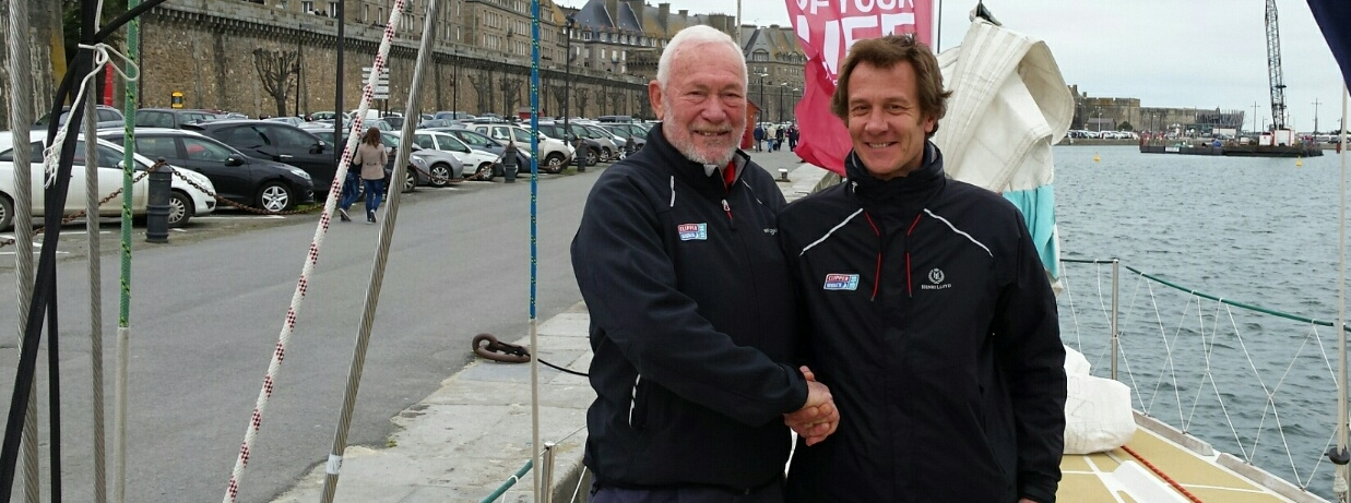 ​The Clipper Race's first ever French skipper Olivier Cardin has sailed into Saint Malo, France with Sir Robin Knox-Johnston for a tour following the successful appeal for a Francophile skipper.
