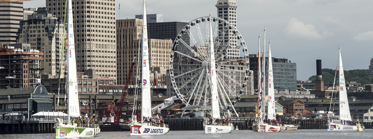 The Clipper Race fleet departs from Seattle in the Clipper 2015-16 Race