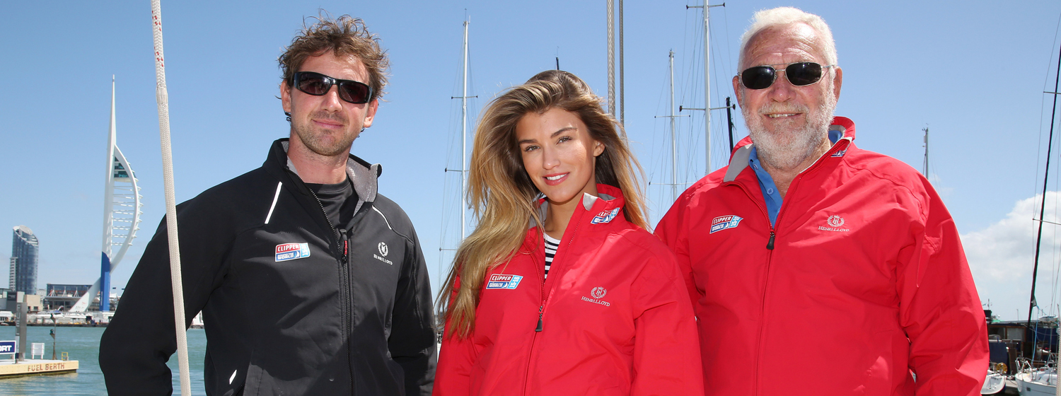 Amy Willerton pictured with Skipper Ashley Skett and Sir Robin Knox-Johnston