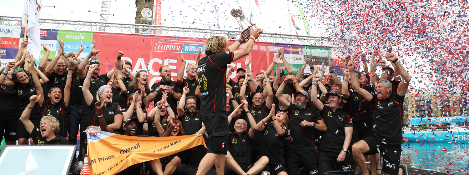 Team LMAX Exchange celebrate its win at Clipper Race Finish in London