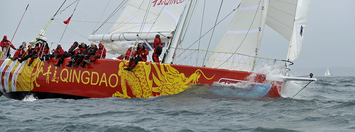 The Qingdao yacht in action during the 2013-14 race.