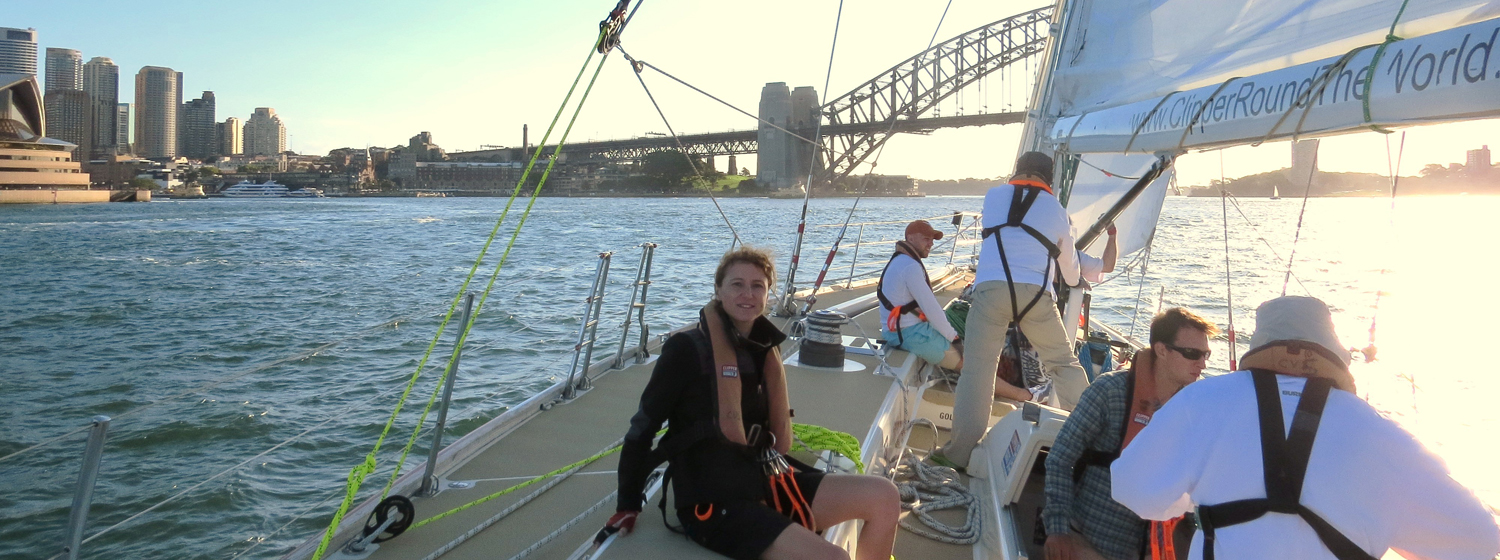 Crew member Cathy Lorho on board her Clipper Race training in Sydney Harbour