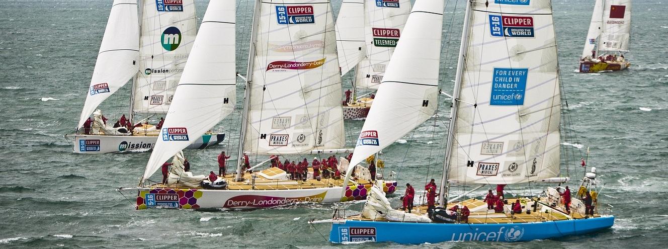 Clipper Race fleet shown in action