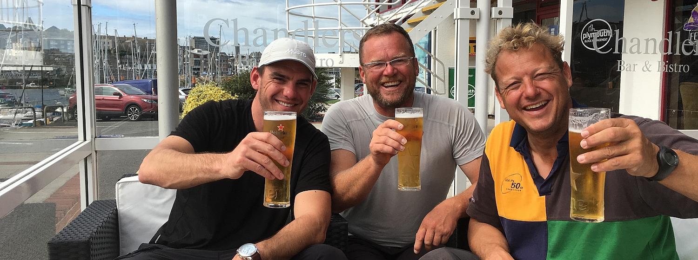 Crew celebrating passing their YM Offshore Exam
