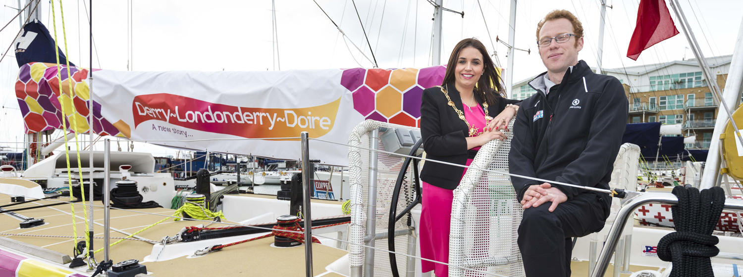 Scottish skipper Daniel Smith and ayor of Derry City and Strabane District Council, Elisa McCallion on board Derry~Londonderry~Doire