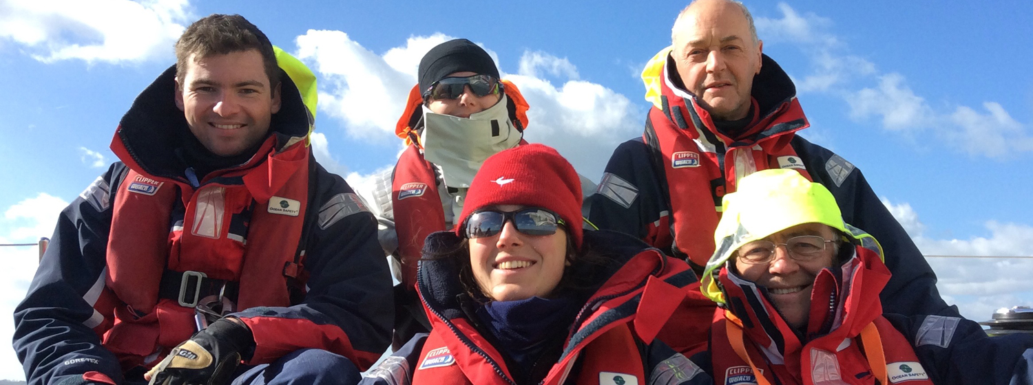 Crew members on board their training course at Clipper Race HQ