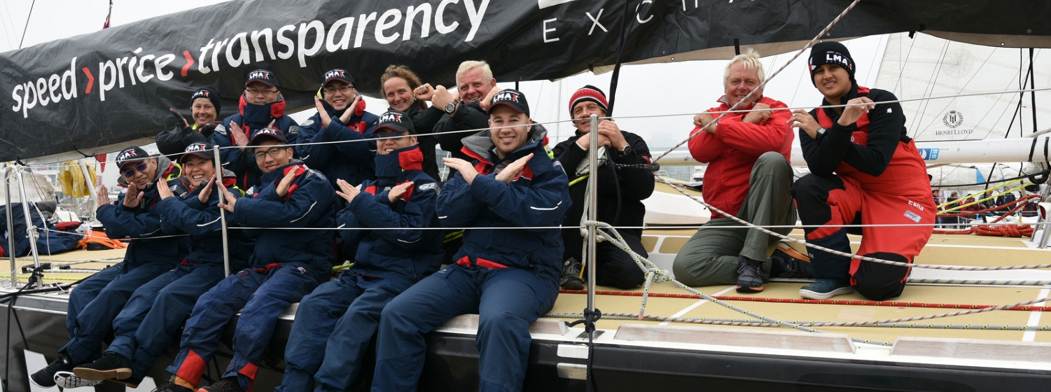 LMAX clients pose on the team boat