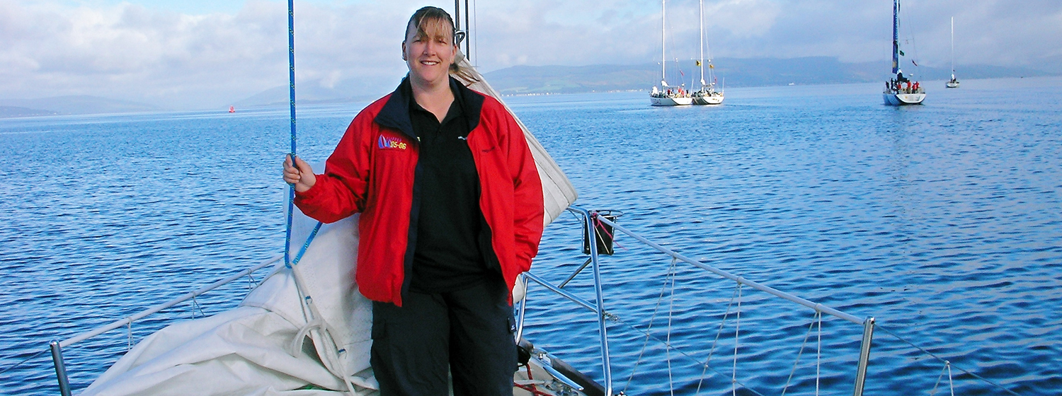 Cath Roberts on  board the 2005-06 Race