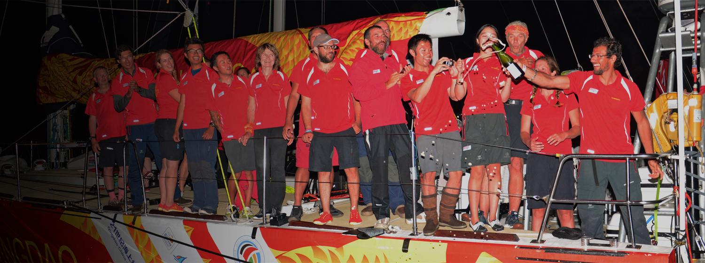 Qingdao team celebrates arrival to Rio