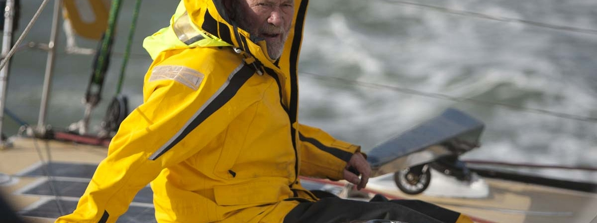 Sir Robin Knox-Johnston is racing in lumpy seas and winds of 20-30 knots