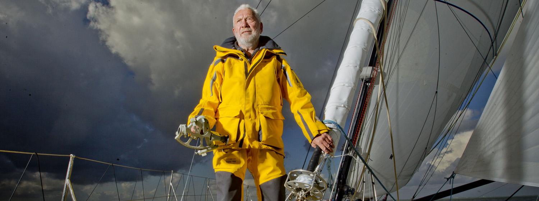 Sir Robin Knox-Johnston slowly reeling in the Rhum class