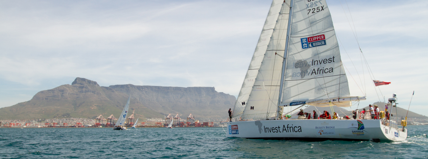 A Clipper Race yacht racing into Cape Town during the last race.