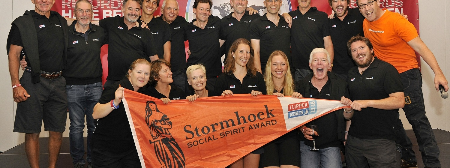 Stormhoek Social Spirit award being presented to a team in the last edition of the Clipper Race