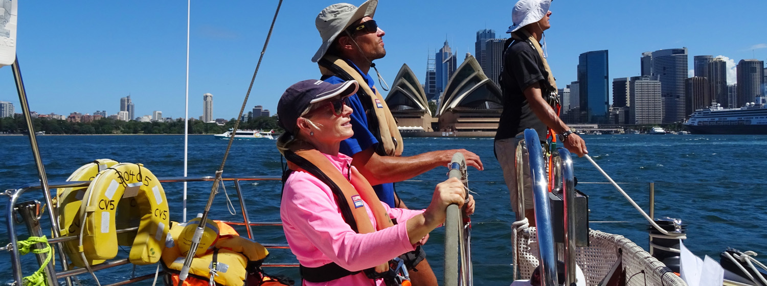 Suzanne Tomkinson behind the helm in Sydney for Level 1 training