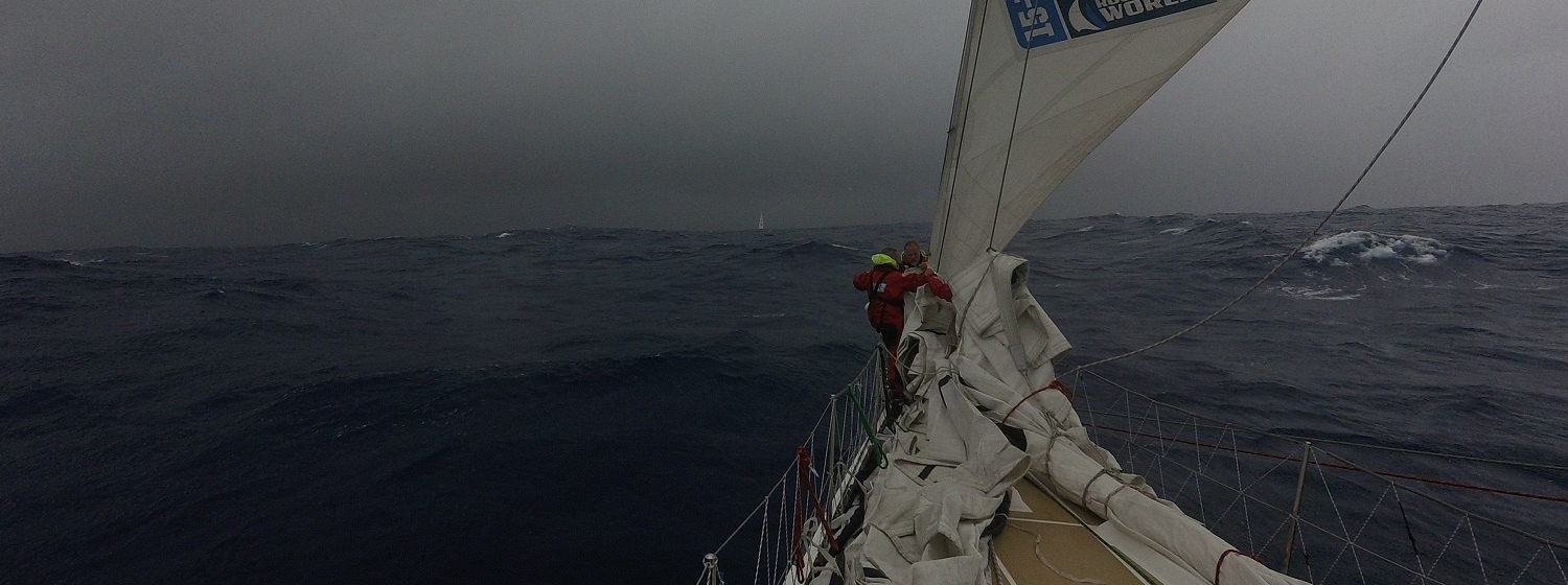 Crew shown hanking on sail as Storm Colin approaches
