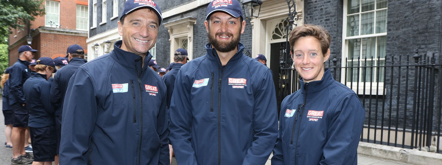 Graham Bell, GREAT Britain Skipper Andy Burns and Hannah MacLeod MBE outside 10 Downing Street during recent visit