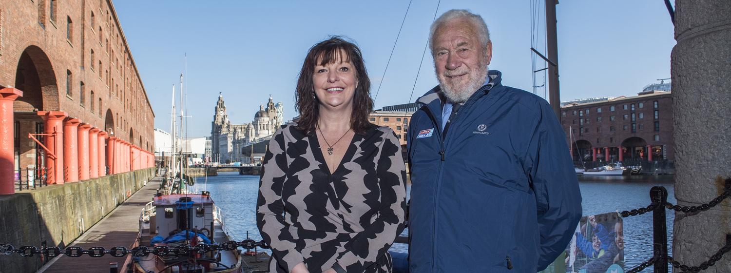 Sir Robin Knox-Johnston announcing the Clipper 2017-18 Race Start in Liverpool