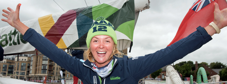 Visit Seattle Skipper Nikki Henderson celebrates win in Derry-Londonderry. ©Martin McKeowen